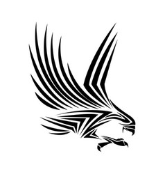 Flying eagle spread out its feather black eagle vector