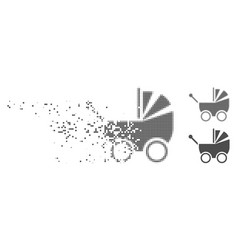 Fragmented pixel halftone baby carriage icon vector