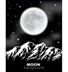 Full Moon over mountains Night landscape vector image