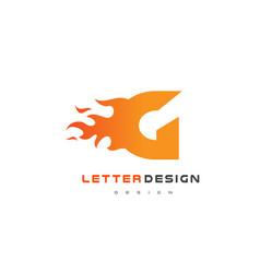 g letter flame logo design fire logo lettering vector image vector image