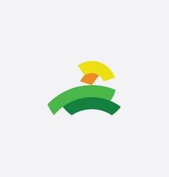 green field and sun landscape logo vector image