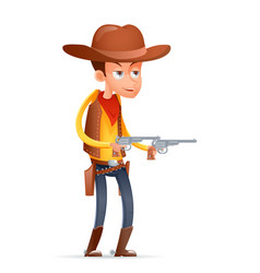 Gunman cowboy wild west american retro cartoon vector
