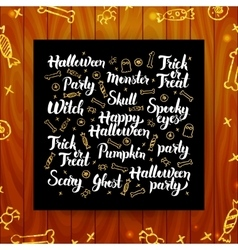 Halloween greeting calligraphy vector
