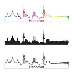 Hannover skyline linear style with rainbow vector image