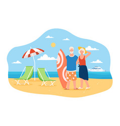 happy and active elderly couple is spending time vector image