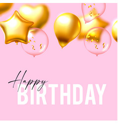 happy birthday with foil balloons glossy vector image