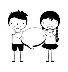 happy boy and girl speech bubble vector image