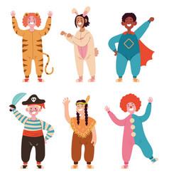 happy smiline children wear different costume vector image