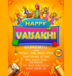 Happy vaisakhi punjabi festival celebration vector