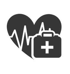 heart cardiology with medical icon vector image