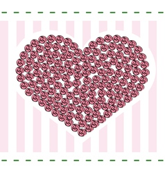 Heart with roses card vector