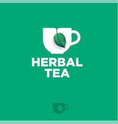 herbal tea logo cup green label mint leaf vector image