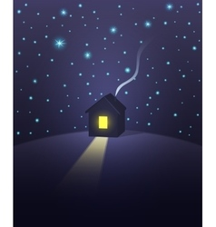 House under a starry sky vector image