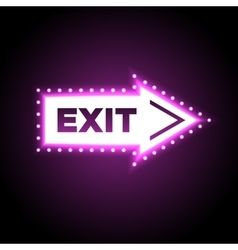 Illuminated arrow shaped 3D exit sign vector image
