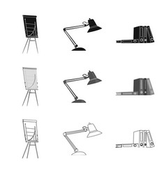 Isolated object of furniture and work sign set of vector