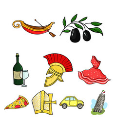 italy country set icons in cartoon style big vector image