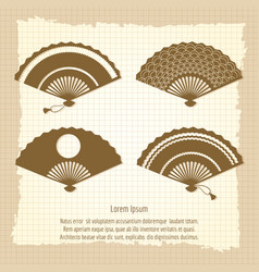 japan fan collection on vintage background vector image