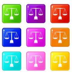 Justice scale icons 9 set vector