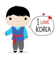 korea men national dress cartoon vector image