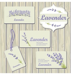 Lavender cards and labels vector