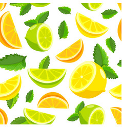 lemon and lime lemonade seamless pattern vector image