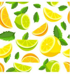Lemon and lime lemonade seamless pattern vector