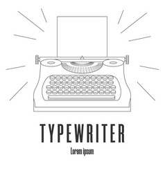 line style icon a typewriter machine logo vector image
