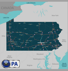 map of state pennsylvania usa vector image