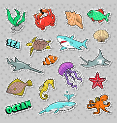 marine life badges patches stickers vector image