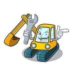 mechanic excavator mascot cartoon style vector image