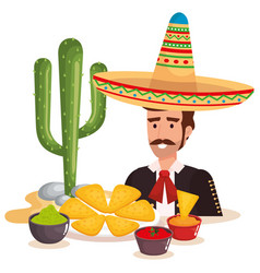 Mexican mariachi with food character vector