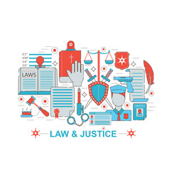 modern flat thin line design law and justice vector image