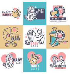 Nanny service isolated emblems bacare vector