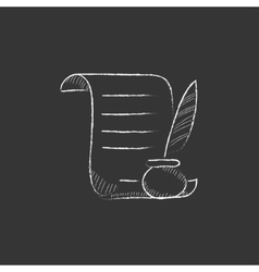 Paper scroll with feather pen Drawn in chalk icon vector
