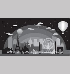 Paris skyline silhouette 6 vector