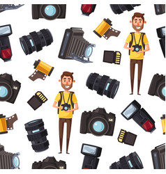 photographer camera equipment seamless pattern vector image