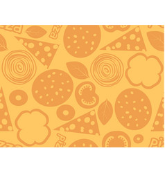 pizza ingredients simple seamless pattern orange vector image