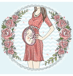 Pregnant woman with cute baby vector