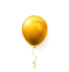 realistic golden balloon on white background vector image