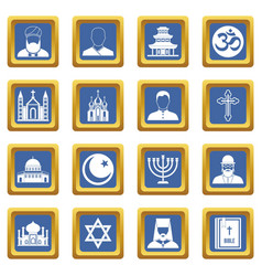 religious symbol icons set blue vector image