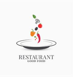 Restaurant plate logo plate on white vegetables vector