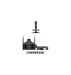 Russia cherkessk flat travel skyline set russia vector