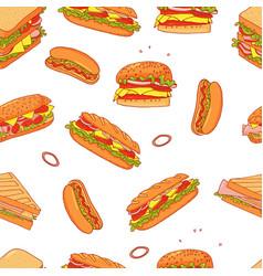 Sandwich cartoon seamless pattern background vector
