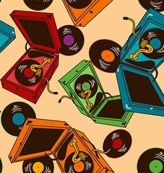 Seamless pattern of gramophones vector