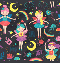 seamless pattern with magic night fairies vector image