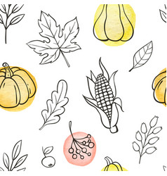 Seamless pattern with pumpkins and leaves vector