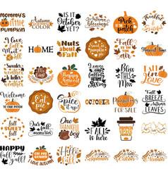 Set autumn nature quotes vector