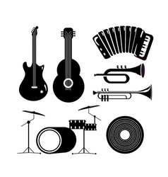 Set eletric and acoustic guitar with music vector