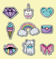 set fashion cute patch decoration design vector image