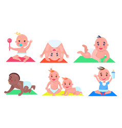 set of color pictures with various small children vector image